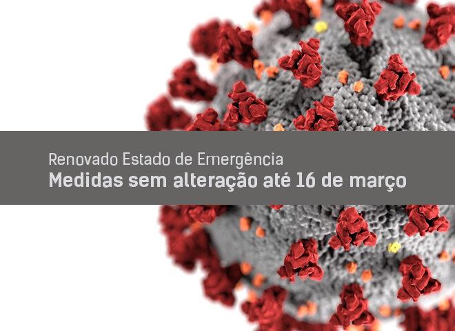 Estado de Emergência renovado de novo. Medidas sem alteração até 16 de março