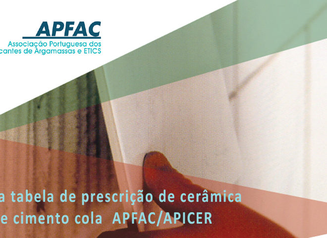 Tabela de prescrição de cerâmica e cimento cola APFAC/APICER